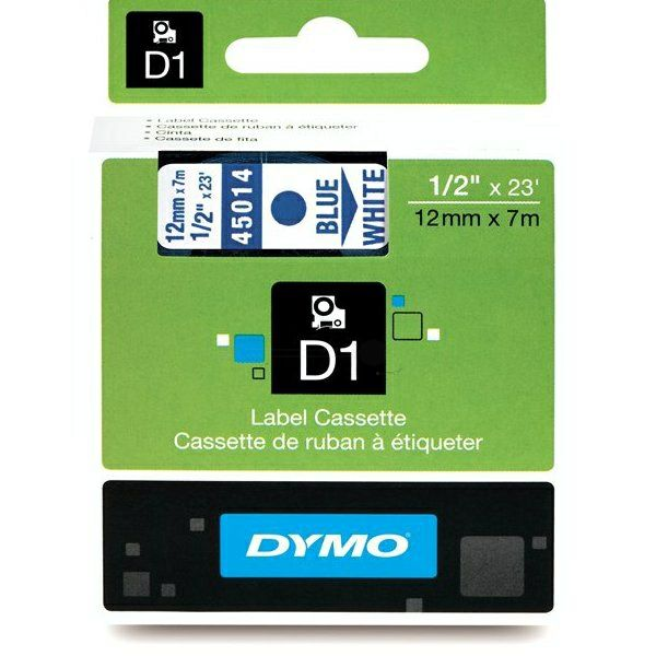 Dymo%20D1%20label%20cassette%2045014%20blue%20on%20white